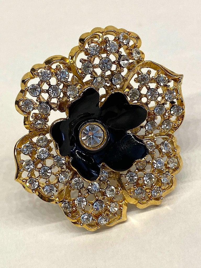 Mila Schön Gold 1980s Large Gold & Black Enamel Flower Earrings For Sale 8