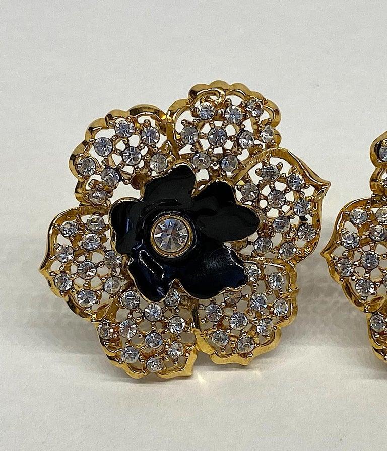 Mila Schön Gold 1980s Large Gold & Black Enamel Flower Earrings For Sale 9