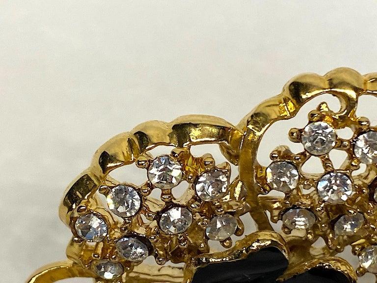 Mila Schön Gold 1980s Large Gold & Black Enamel Flower Earrings For Sale 10