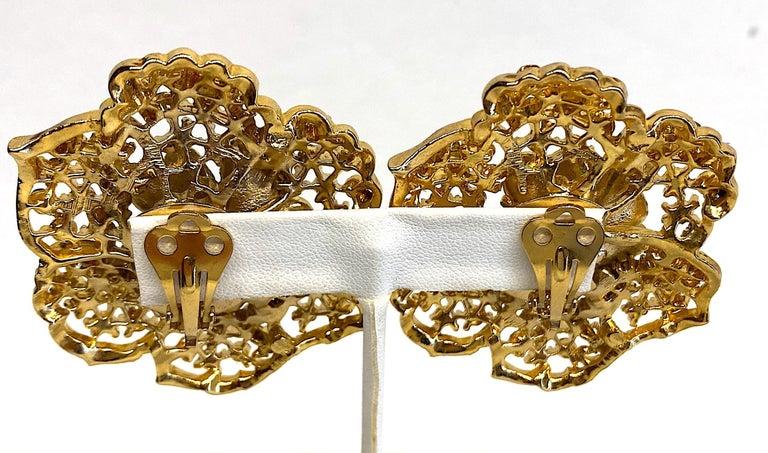 Women's Mila Schön Gold 1980s Large Gold & Black Enamel Flower Earrings For Sale