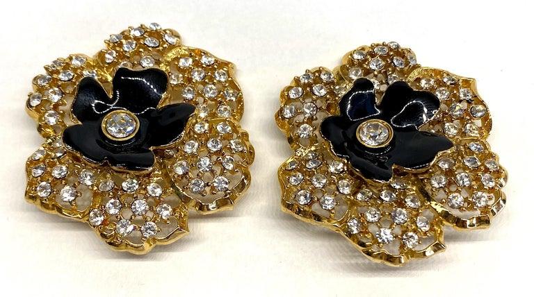 Mila Schön Gold 1980s Large Gold & Black Enamel Flower Earrings For Sale 1