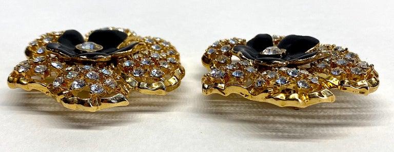 Mila Schön Gold 1980s Large Gold & Black Enamel Flower Earrings For Sale 2