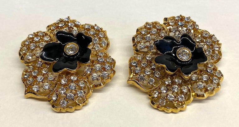 Mila Schön Gold 1980s Large Gold & Black Enamel Flower Earrings For Sale 3