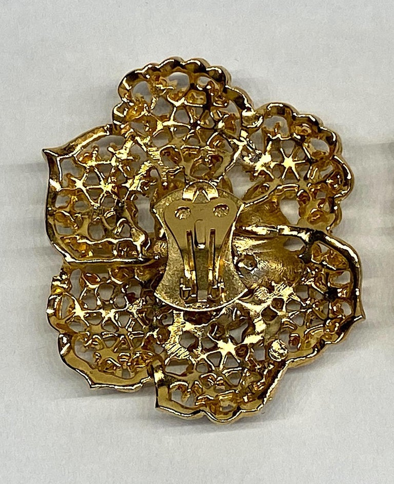 Mila Schön Gold 1980s Large Gold & Black Enamel Flower Earrings For Sale 4