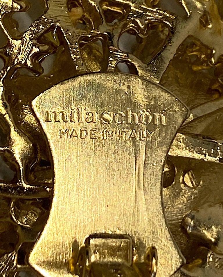 Mila Schön Gold 1980s Large Gold & Black Enamel Flower Earrings For Sale 5