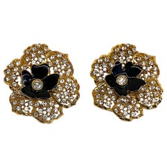 Mila Schön Gold 1980s Large Gold & Black Enamel Flower Earrings