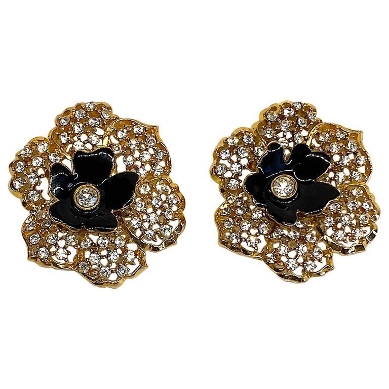 Mila Schön Gold 1980s Large Gold & Black Enamel Flower Earrings For Sale