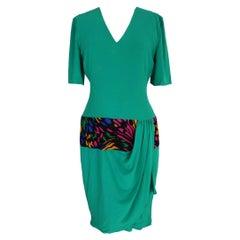 Mila Schon Green Silk Sheath Evening Dress
