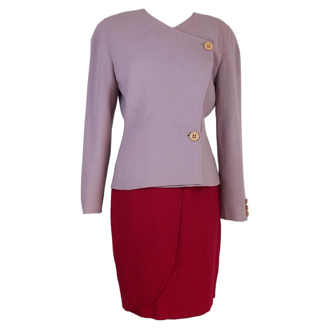 Mila Schon Purple Lilac Wool Tulip Skirt Suit