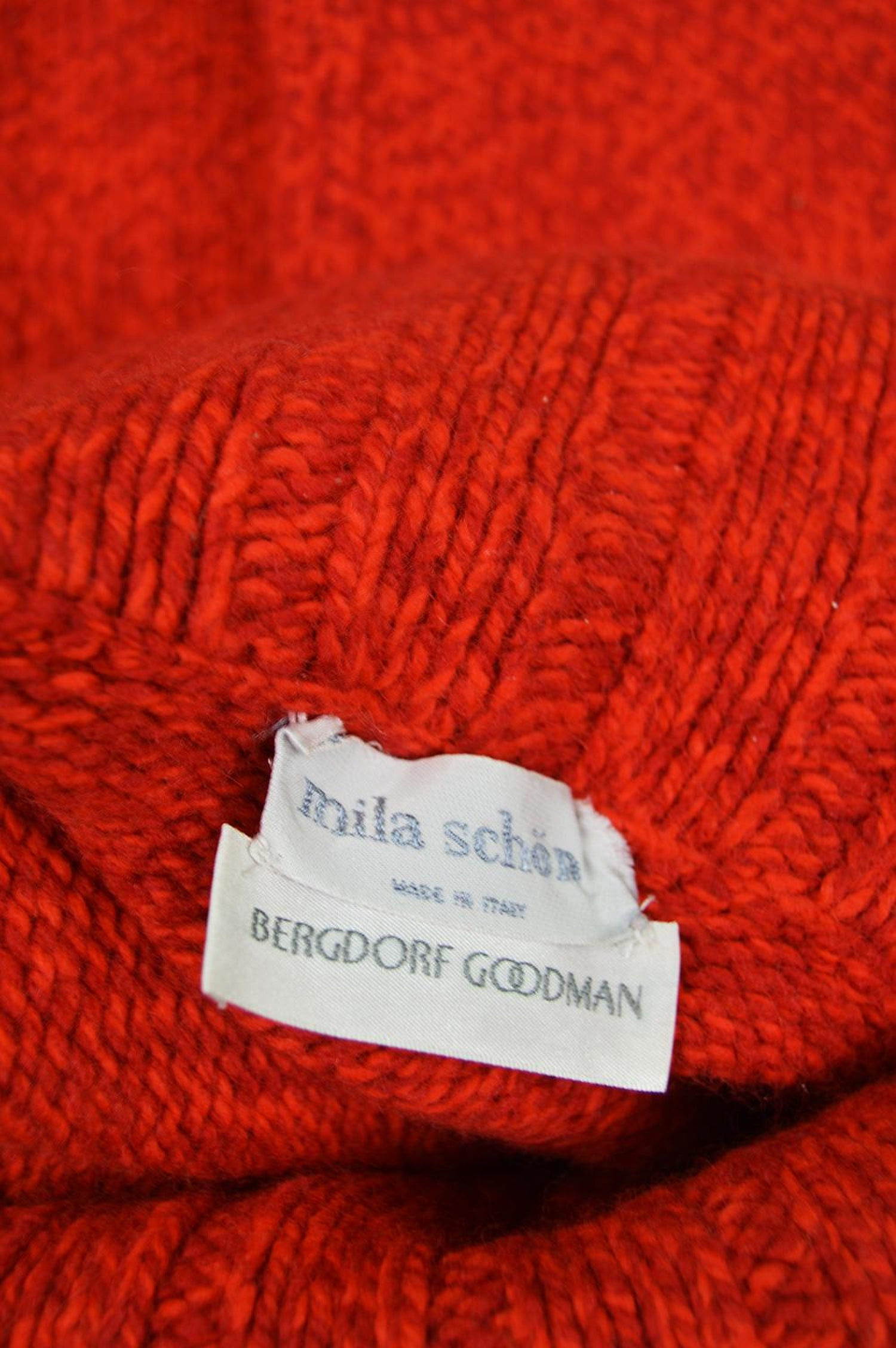 fafe6e2433b5 Mila Schon Vintage Red Wool and Cashmere Balloon Sleeve Roll Neck Sweater,  1980s For Sale at 1stdibs