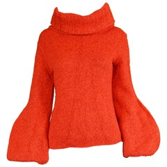 Mila Schon Vintage Red Wool & Cashmere Balloon Sleeve Roll Neck Sweater, 1980s