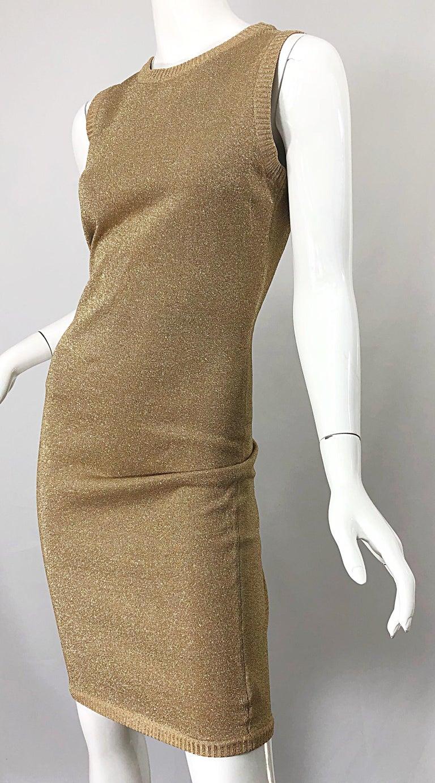 Mila Schoon 1990s Gold Metallic Cut - Out Back Vintage 90s Bodycon Dress For Sale 5