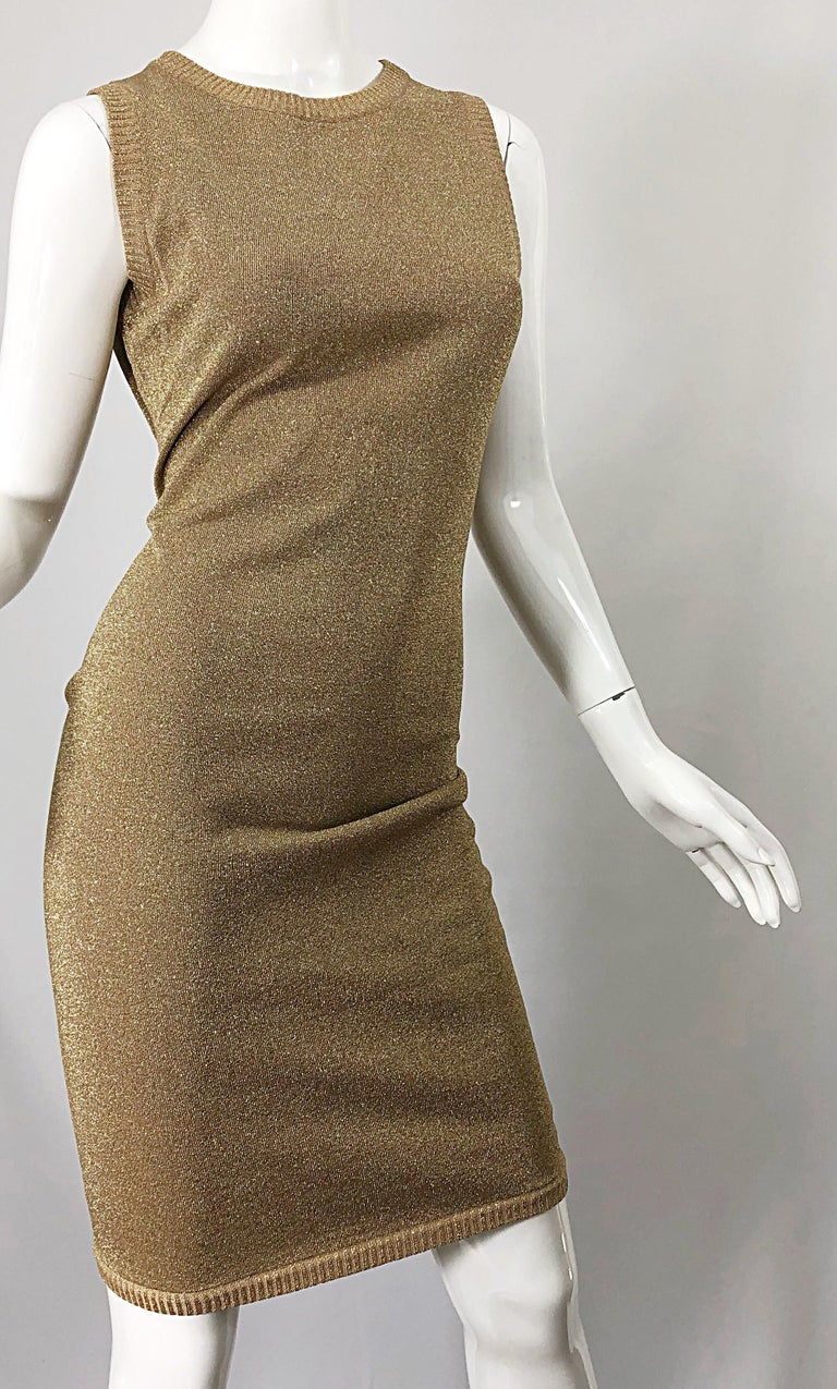 Mila Schoon 1990s Gold Metallic Cut - Out Back Vintage 90s Bodycon Dress For Sale 6