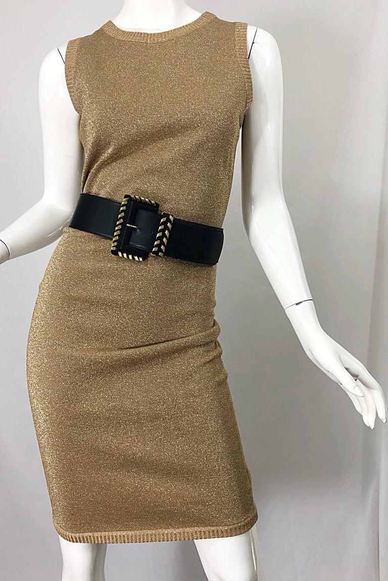 Mila Schoon 1990s Gold Metallic Cut - Out Back Vintage 90s Bodycon Dress For Sale 7