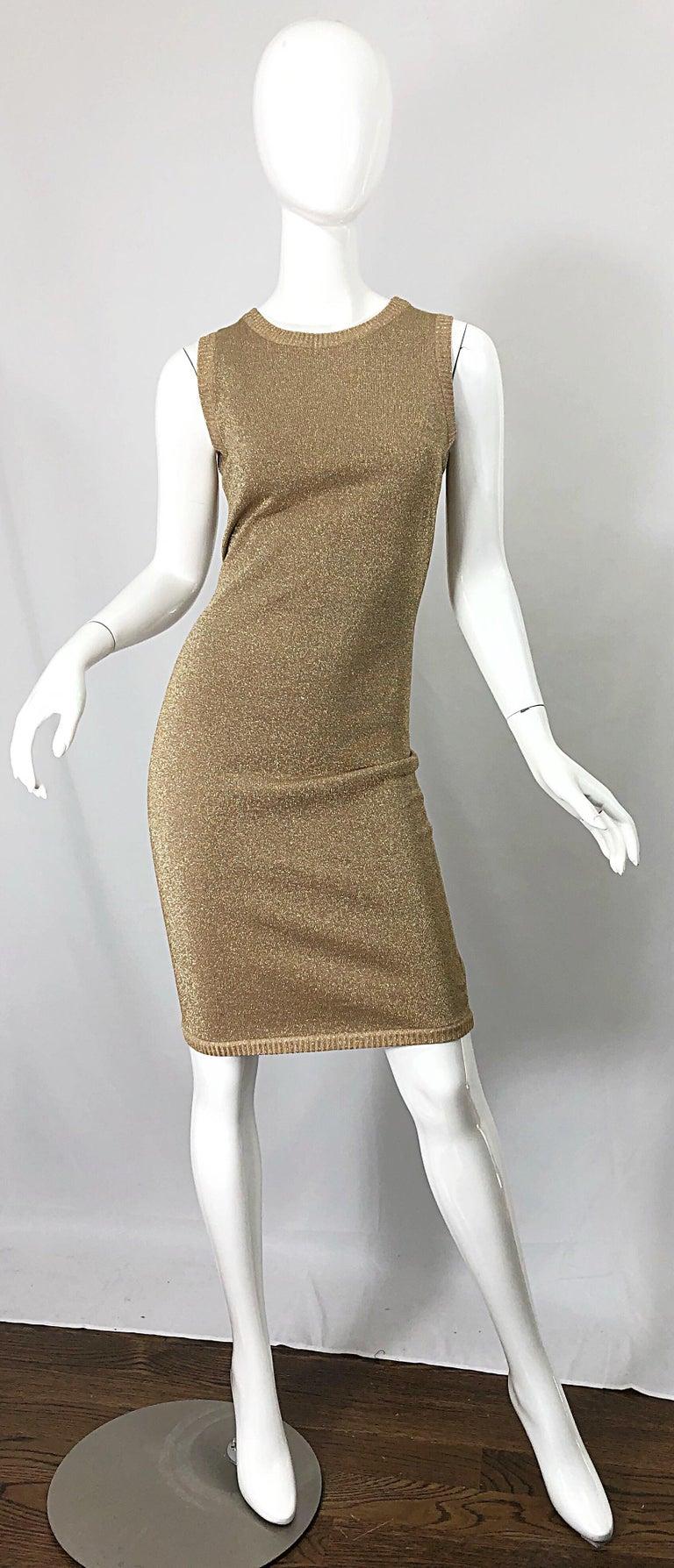 Mila Schoon 1990s Gold Metallic Cut - Out Back Vintage 90s Bodycon Dress For Sale 8