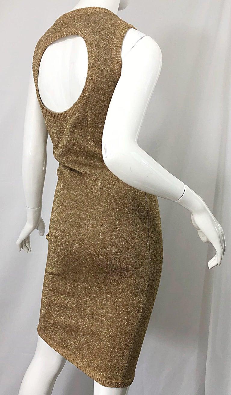 Mila Schoon 1990s Gold Metallic Cut - Out Back Vintage 90s Bodycon Dress For Sale 9
