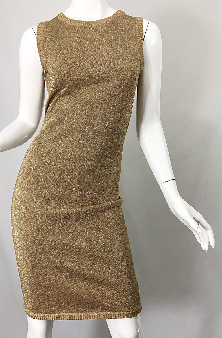 Mila Schoon 1990s Gold Metallic Cut - Out Back Vintage 90s Bodycon Dress For Sale 10