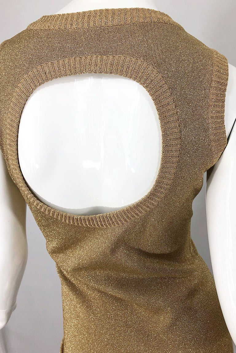Brown Mila Schoon 1990s Gold Metallic Cut - Out Back Vintage 90s Bodycon Dress For Sale