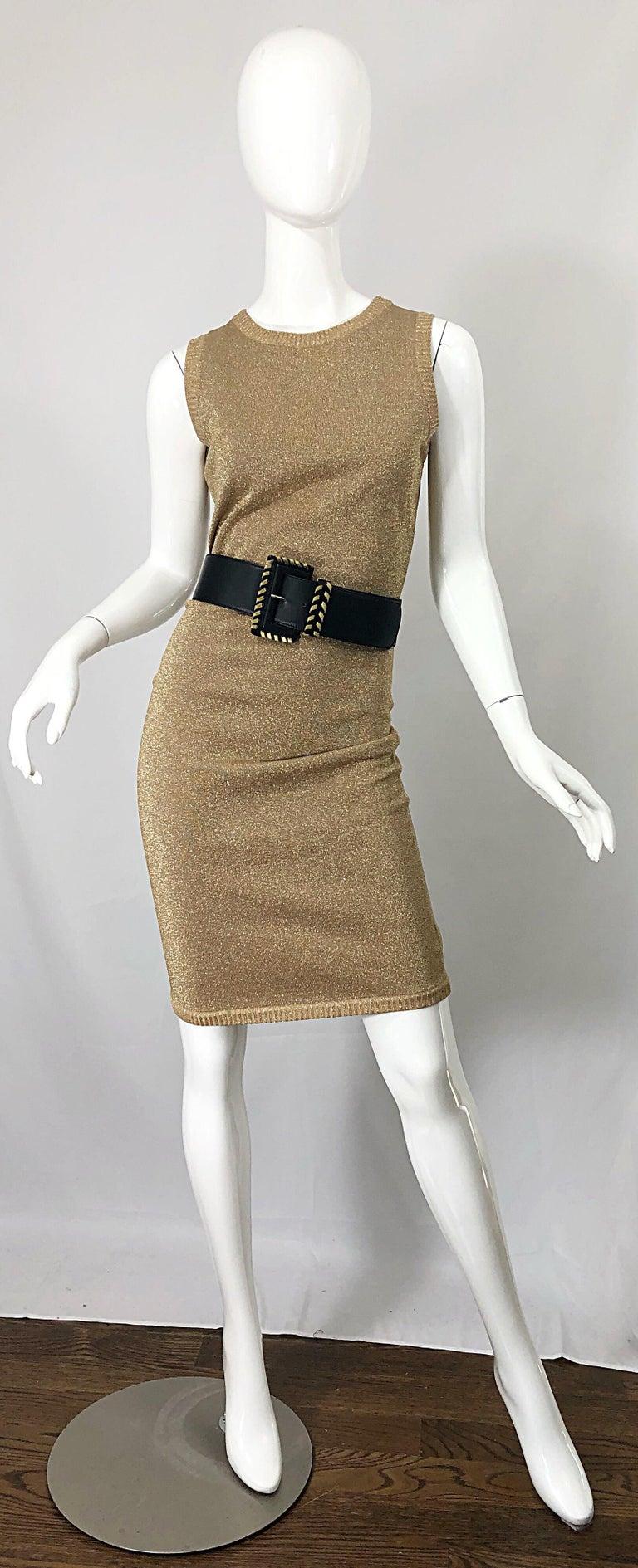 Women's Mila Schoon 1990s Gold Metallic Cut - Out Back Vintage 90s Bodycon Dress For Sale