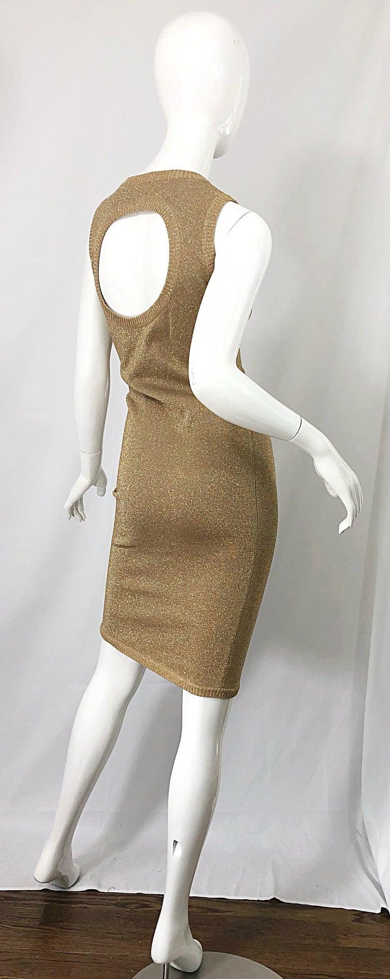 Mila Schoon 1990s Gold Metallic Cut - Out Back Vintage 90s Bodycon Dress For Sale 1