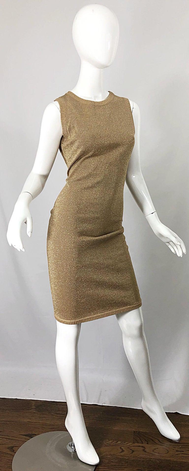 Mila Schoon 1990s Gold Metallic Cut - Out Back Vintage 90s Bodycon Dress For Sale 2
