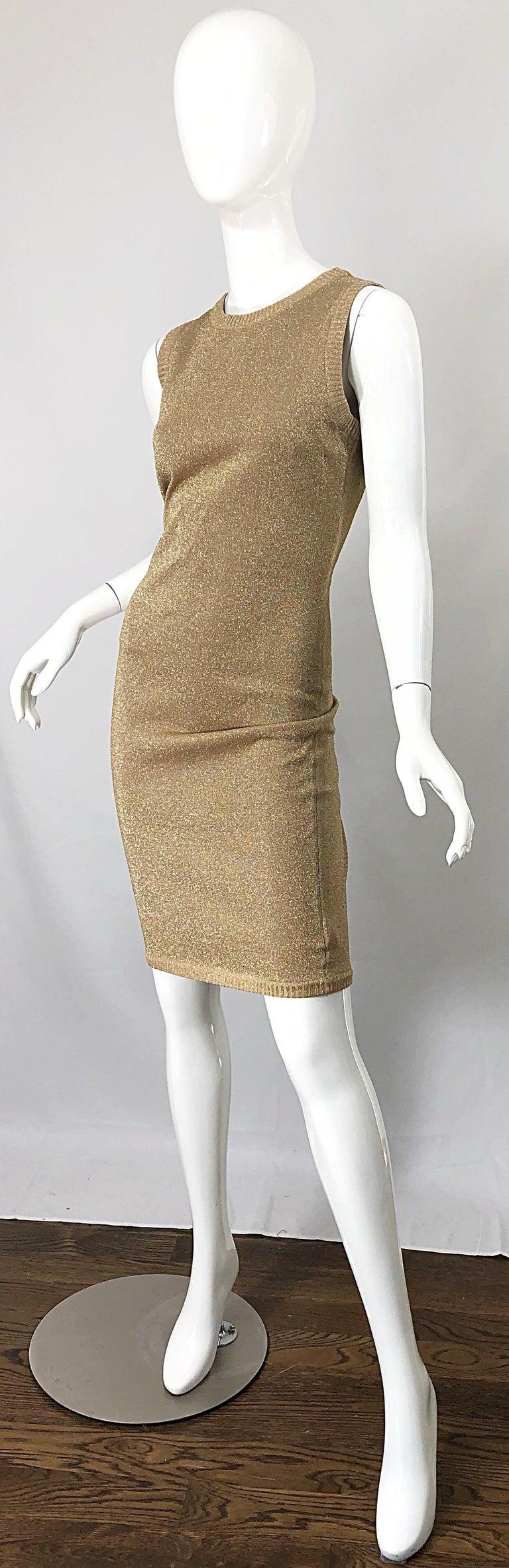 Mila Schoon 1990s Gold Metallic Cut - Out Back Vintage 90s Bodycon Dress For Sale 3