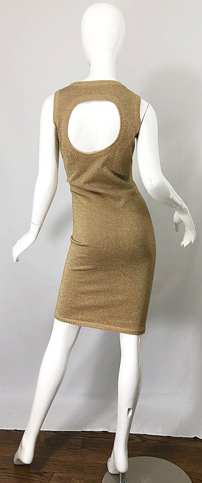 Mila Schoon 1990s Gold Metallic Cut - Out Back Vintage 90s Bodycon Dress For Sale 4