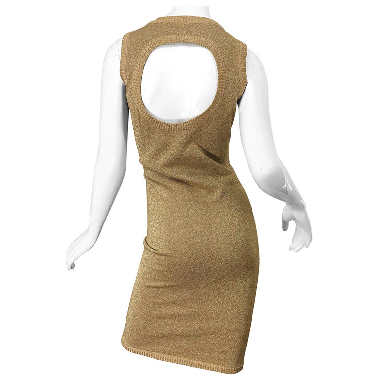 Mila Schoon 1990s Gold Metallic Cut - Out Back Vintage 90s Bodycon Dress For Sale