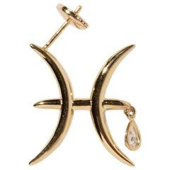 Milamore Fine Jewelry 0.09 Carat Diamond 18 Karat Gold Pisces Earring