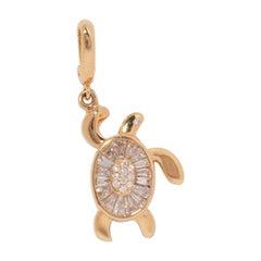 Milamore Fine Jewelry 0.70 Carat Baguette Diamond Turtle Charm