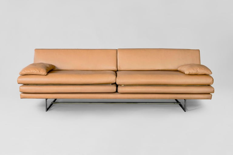 Modern Milan Black Leather Sofa by ATRA For Sale