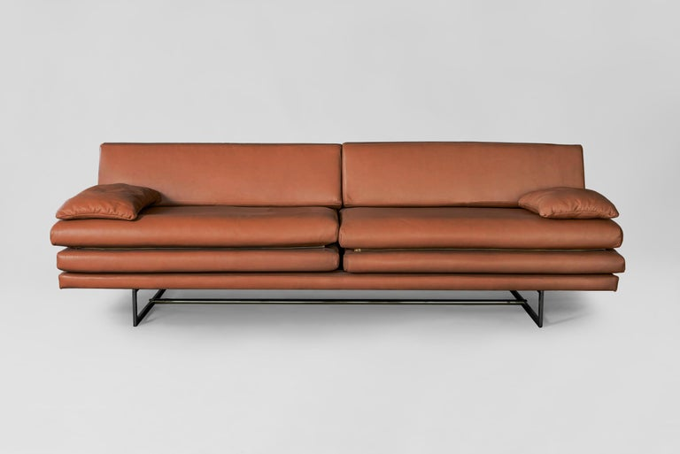 Mexican Milan Black Leather Sofa by ATRA For Sale