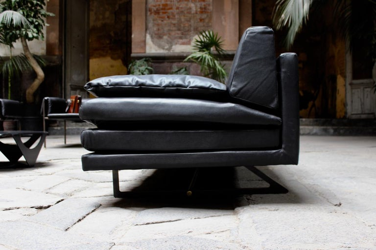 Milan Black Leather Sofa by ATRA In Excellent Condition For Sale In San Francisco, CA
