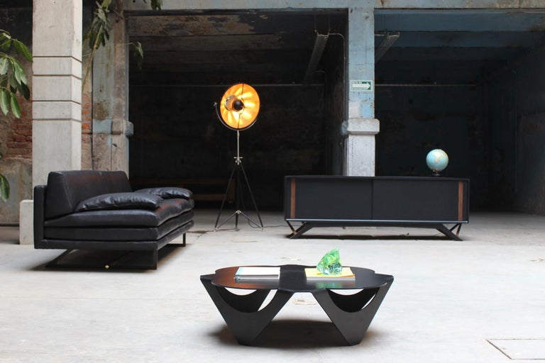Contemporary Milan Black Leather Sofa by ATRA For Sale