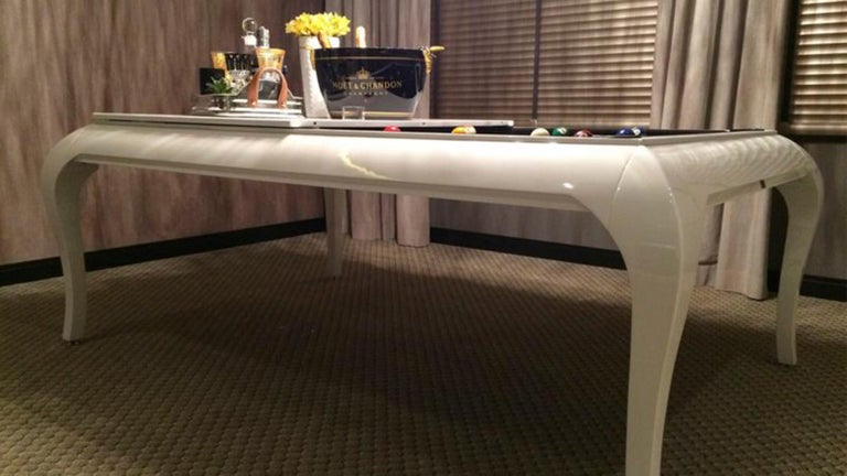 Brazilian Customizable Modern Luxury Dining and Billiards Pool Table in Lacquer For Sale