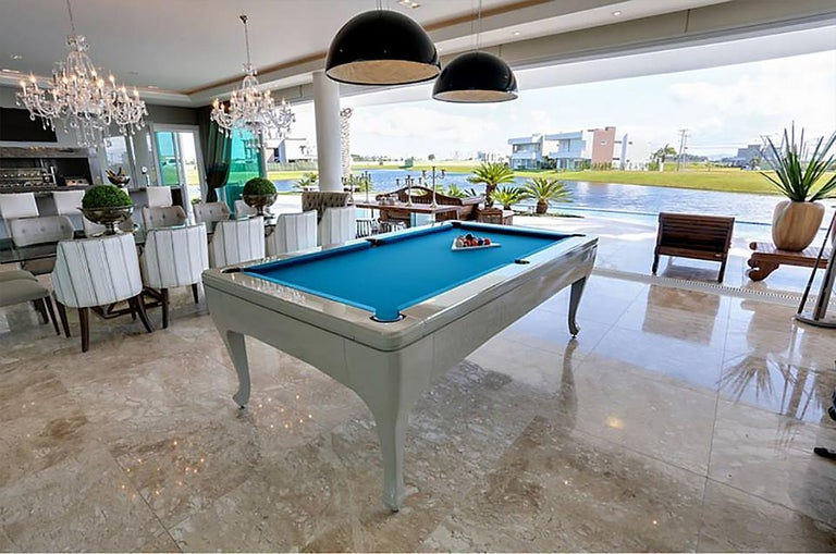Wood Customizable Modern Luxury Pool Table in Lacquer For Sale