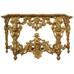 Milanese 18th Century Louis XIV Period Lombardi Giltwood and Patinated Console