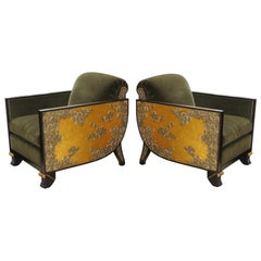 Milanese Lounge Chairs with Gold Leafed Carved Arms, 1980s