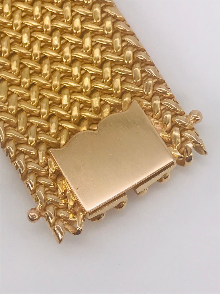 Milanese Mesh Flexible Clamper Bracelets Yellow Gold 18 Karat In New Condition For Sale In Vannes, FR
