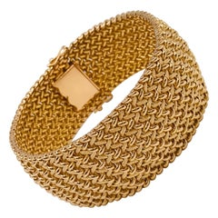 Milanese Mesh Flexible Clamper Bracelets Yellow Gold 18 Karat
