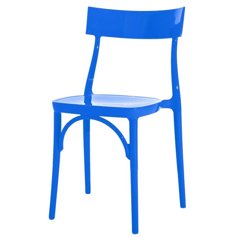 In Stock in Los Angeles, Milani Glossy Blue Majorelle Polycarbonate Dining Chair For Sale