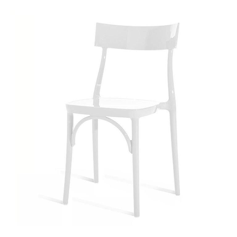 Italian In Stock in Los Angeles, Milani, Glossy White Polycarbonate Dining Chair For Sale