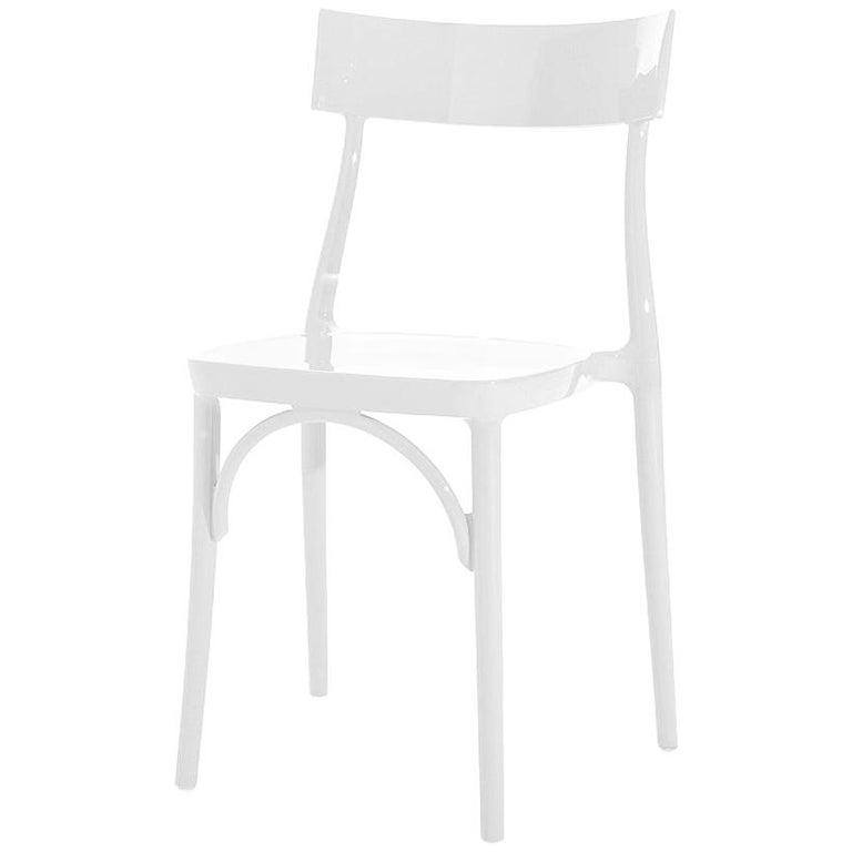 In Stock in Los Angeles, Milani, Glossy White Polycarbonate Dining Chair For Sale