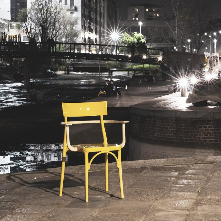 Modern In Stock in Los Angeles, Milani, Glossy Yellow Polycarbonate Dining Chair For Sale
