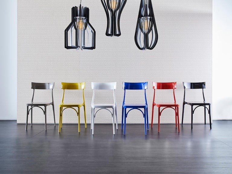 Italian In Stock in Los Angeles, Milani, Glossy Yellow Polycarbonate Dining Chair For Sale