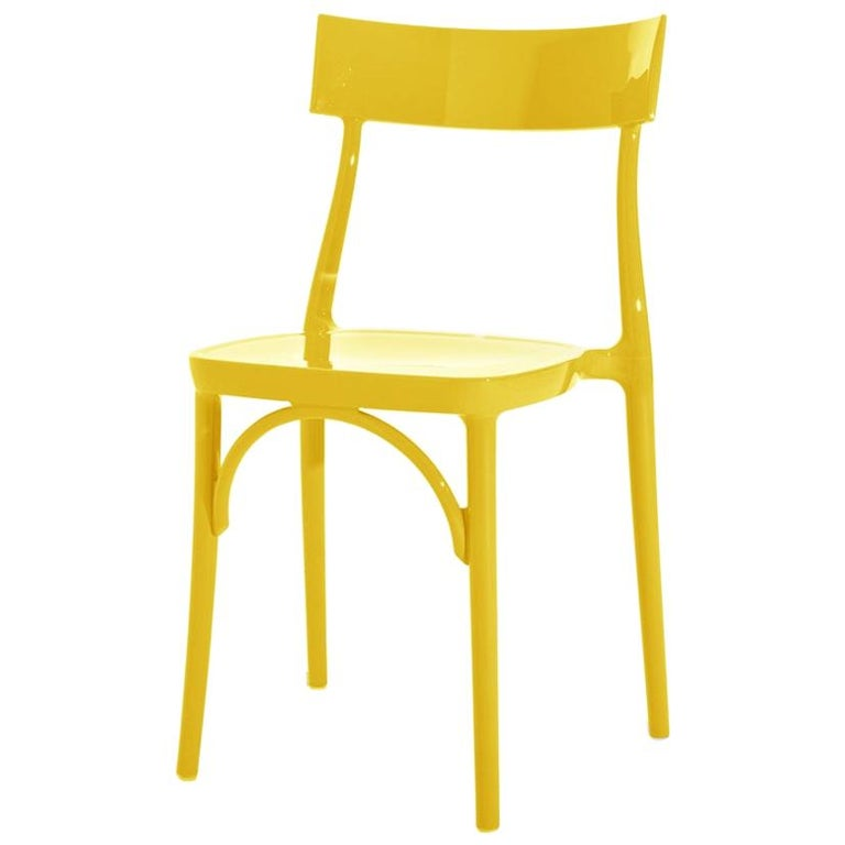 In Stock in Los Angeles, Milani, Glossy Yellow Polycarbonate Dining Chair For Sale