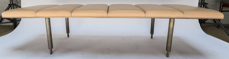 Mid-Century Modern Milano Custom Metal Bench with Leather Seat For Sale