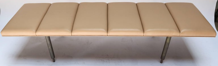 Milano Custom Metal Bench with Leather Seat In Excellent Condition For Sale In Los Angeles, CA