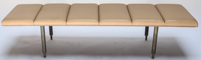 Brass Milano Custom Metal Bench with Leather Seat For Sale