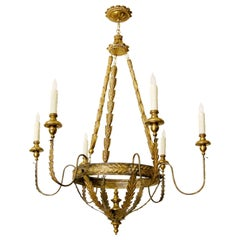 Milano Italian Six-Arm Giltwood and Gilt-Metal Chandelier by Randy Esada Designs